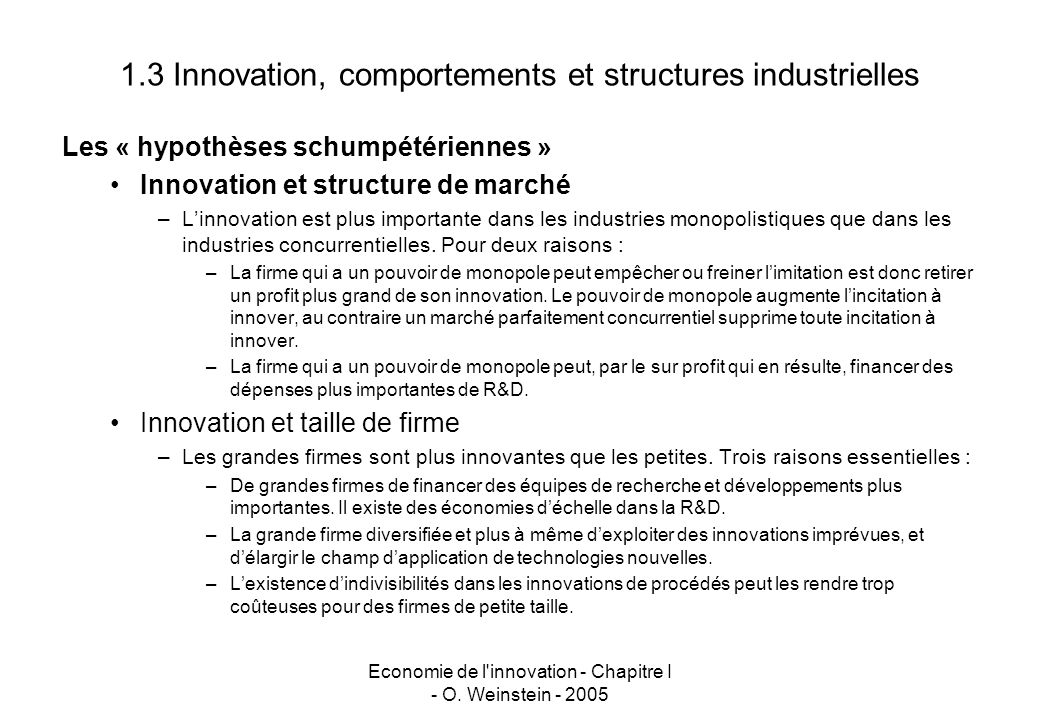 1.3 Innovation, comportements et structures industrielles