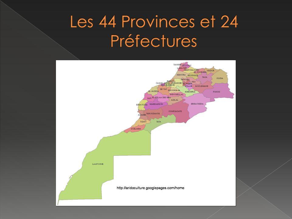 Les 44 Provinces et 24 Préfectures