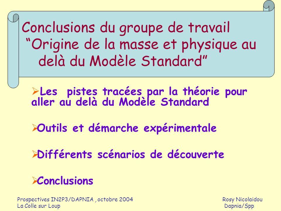 Conclusions du groupe de travail Origine de la masse et physique au