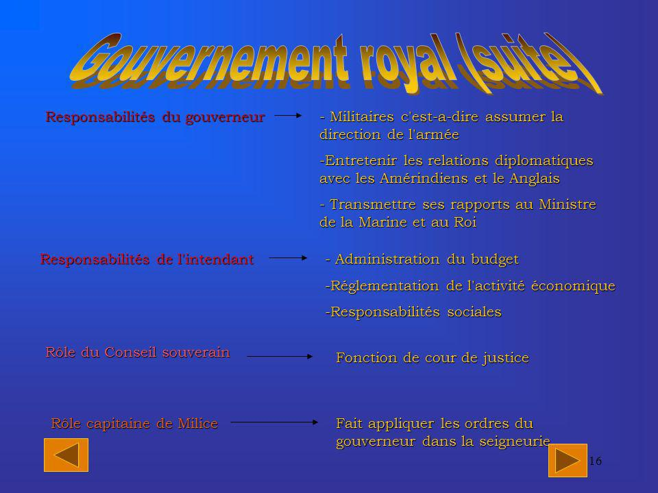 Gouvernement royal (suite)