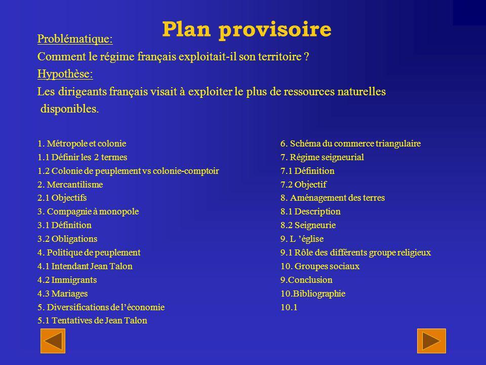 Plan provisoire Problématique: