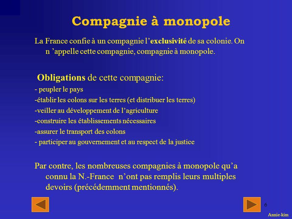 Compagnie à monopole Obligations de cette compagnie: