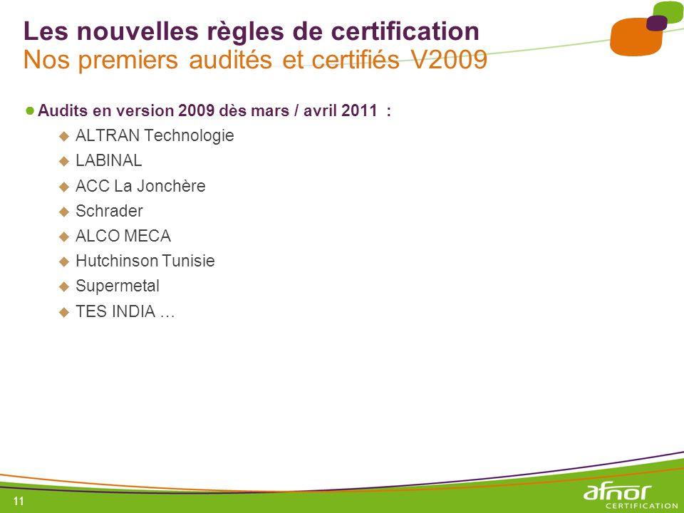 Les nouvelles règles de certification Nos premiers audités et certifiés V2009