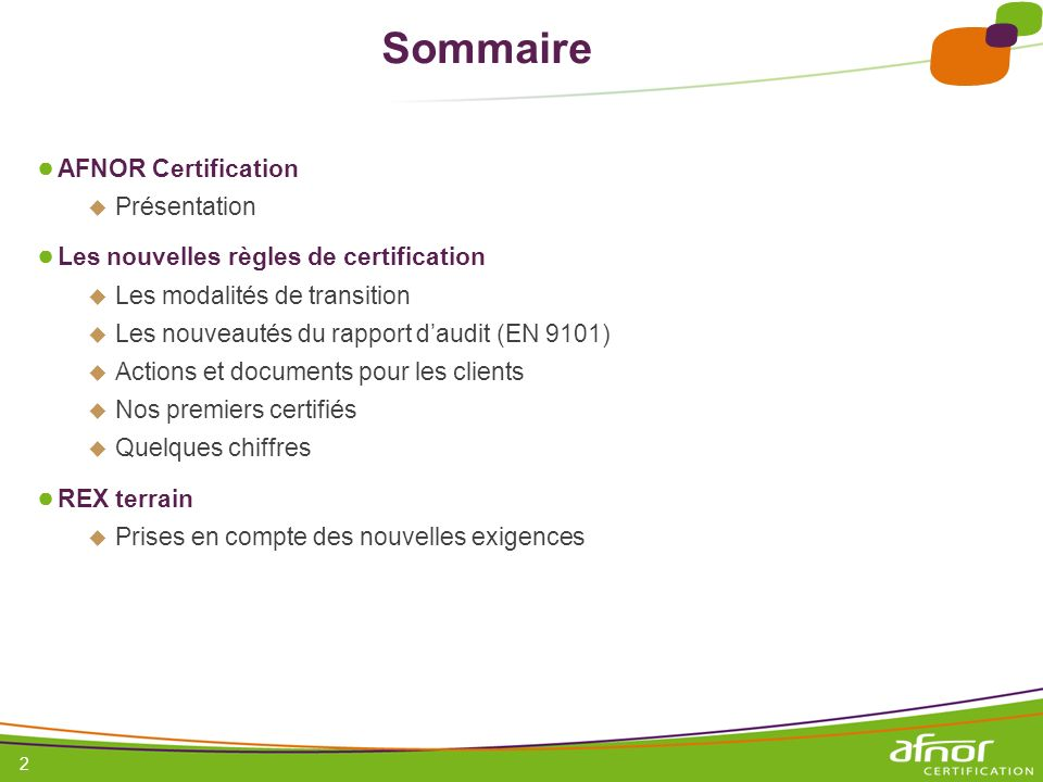 Sommaire AFNOR Certification Présentation