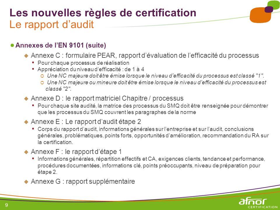 Les nouvelles règles de certification Le rapport d'audit