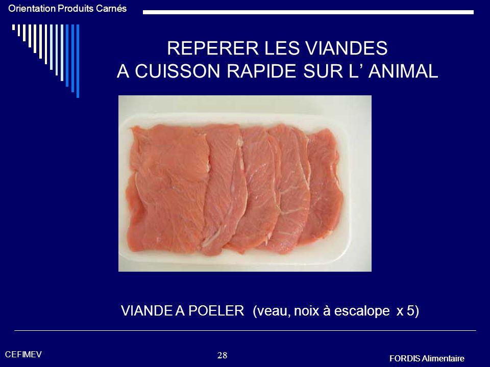 REPERER LES VIANDES A CUISSON RAPIDE SUR L' ANIMAL