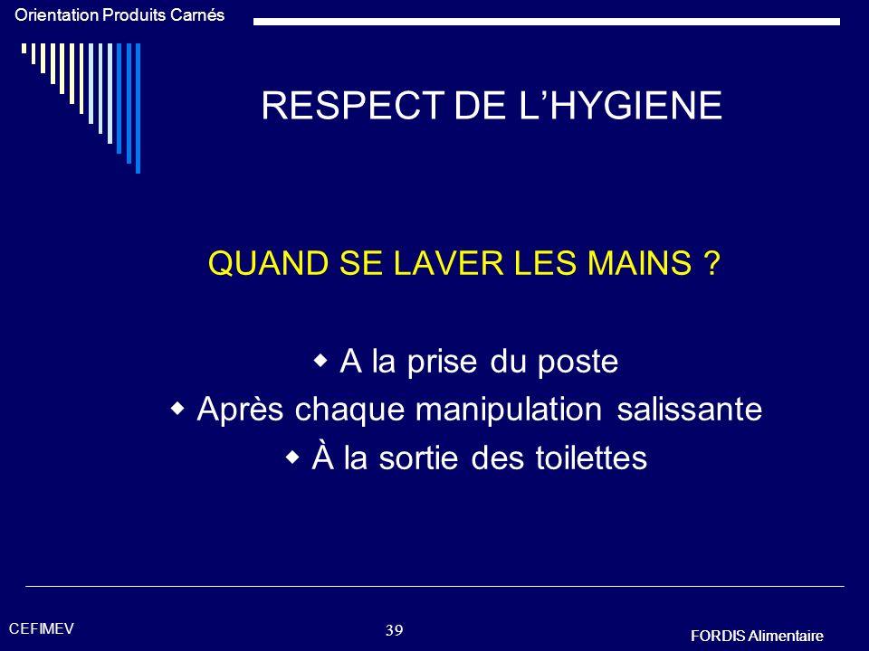 RESPECT DE L'HYGIENE QUAND SE LAVER LES MAINS  A la prise du poste