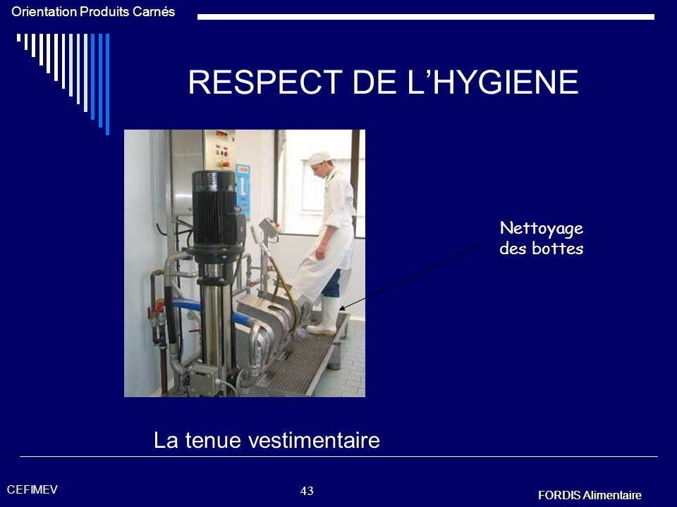 RESPECT DE L'HYGIENE La tenue vestimentaire Nettoyage des bottes
