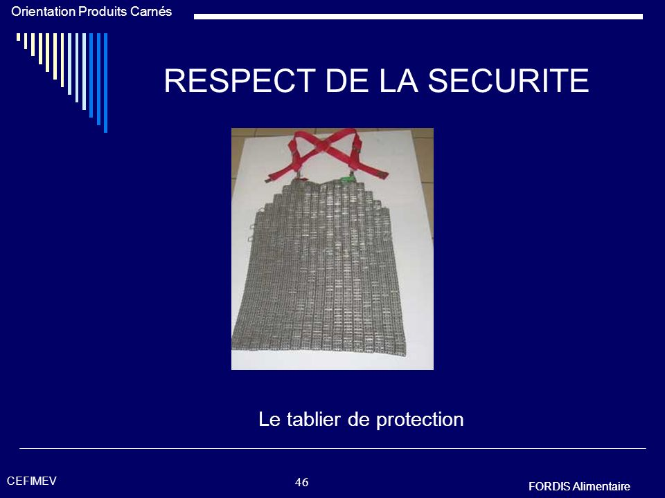 Le tablier de protection