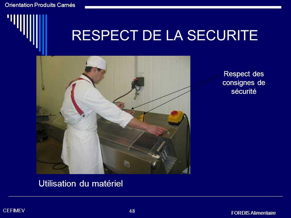 Respect des consignes de sécurité