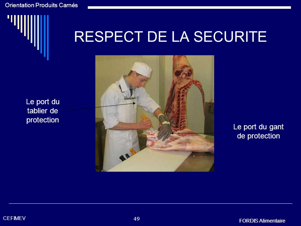 RESPECT DE LA SECURITE Le port du tablier de protection