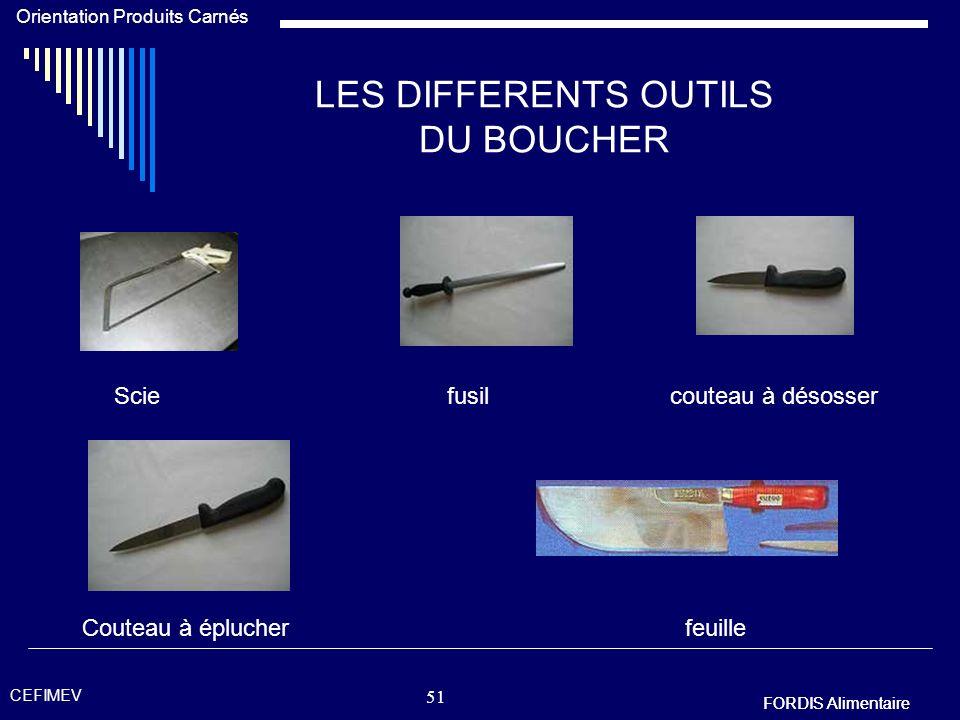 LES DIFFERENTS OUTILS DU BOUCHER