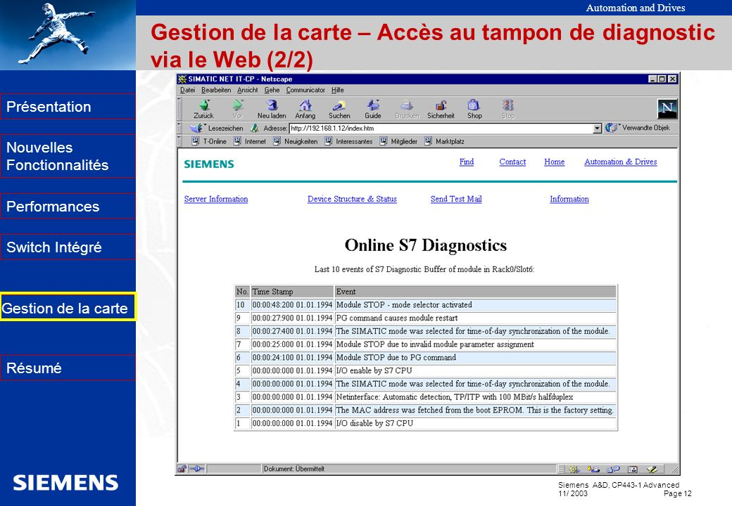 Gestion de la carte – Accès au tampon de diagnostic via le Web (2/2)