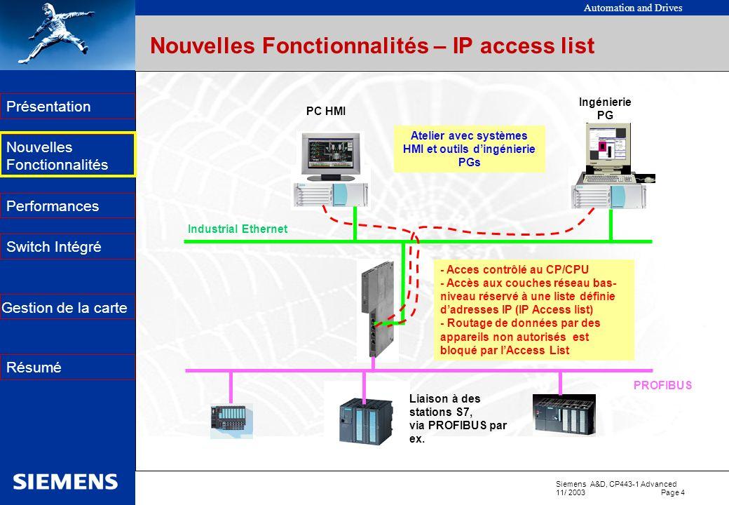 Nouvelles Fonctionnalités – IP access list