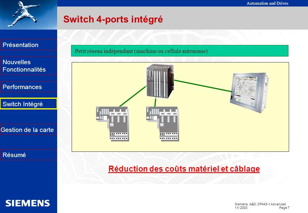 Réduction des coûts matériel et câblage