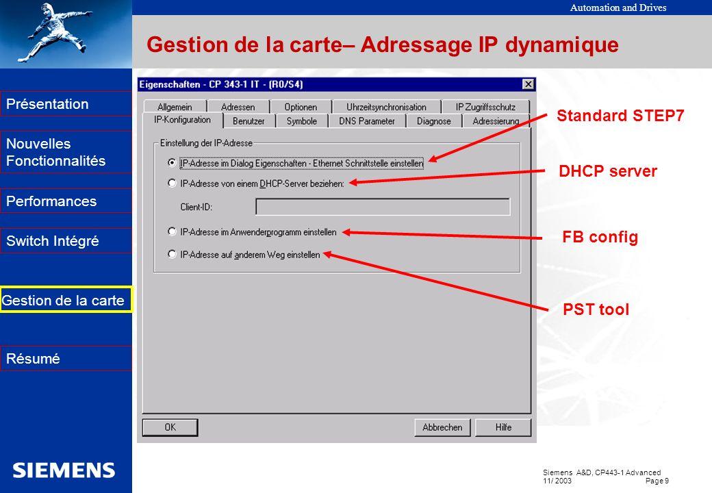 Gestion de la carte– Adressage IP dynamique