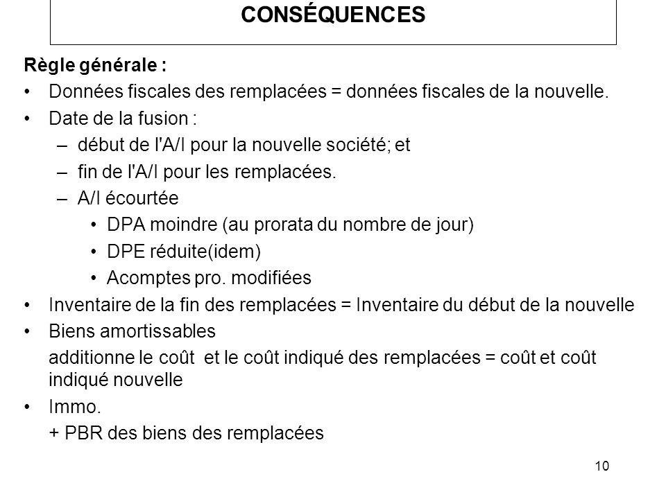 CONSÉQUENCES Règle générale :