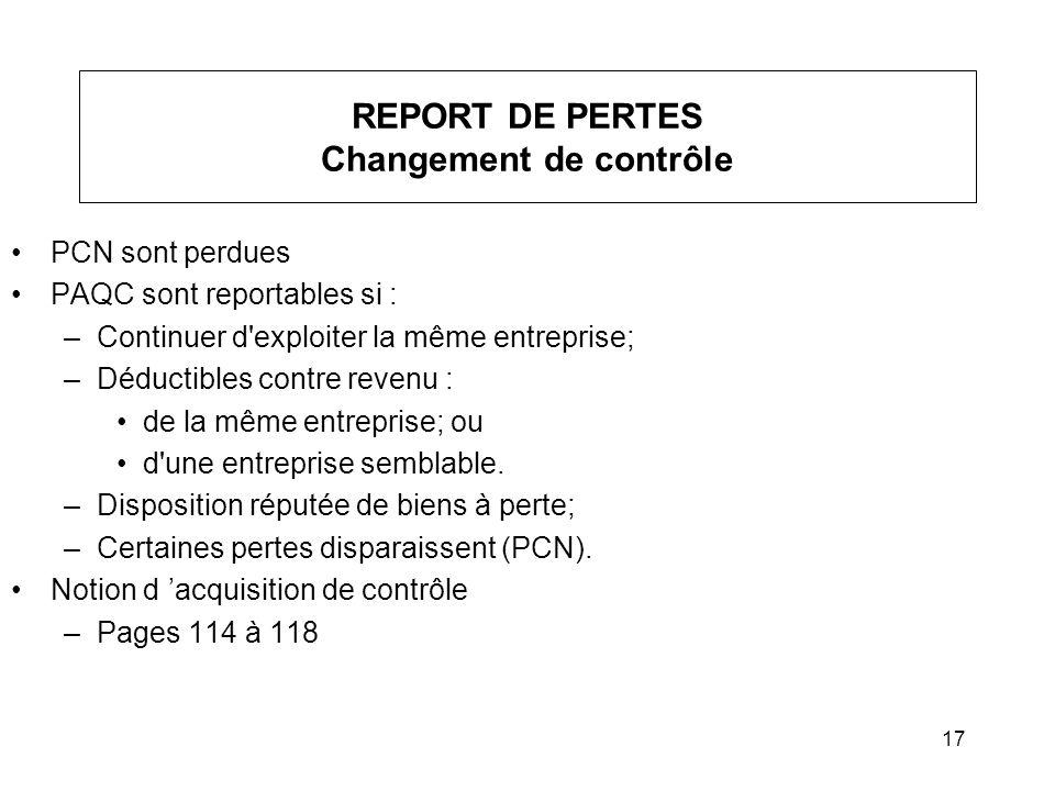 REPORT DE PERTES Changement de contrôle
