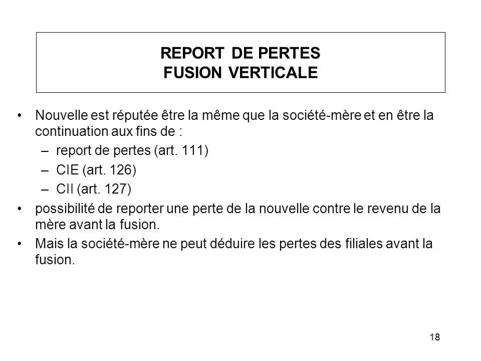 REPORT DE PERTES FUSION VERTICALE