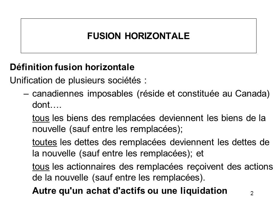 Définition fusion horizontale Unification de plusieurs sociétés :