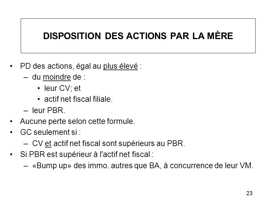 DISPOSITION DES ACTIONS PAR LA MÈRE