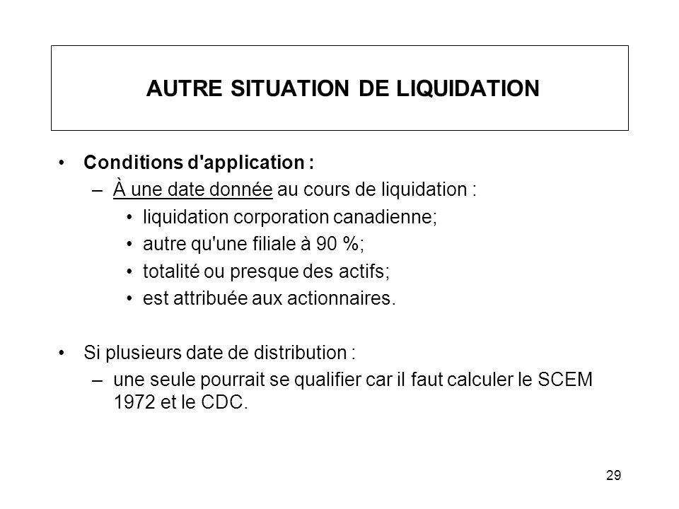 AUTRE SITUATION DE LIQUIDATION