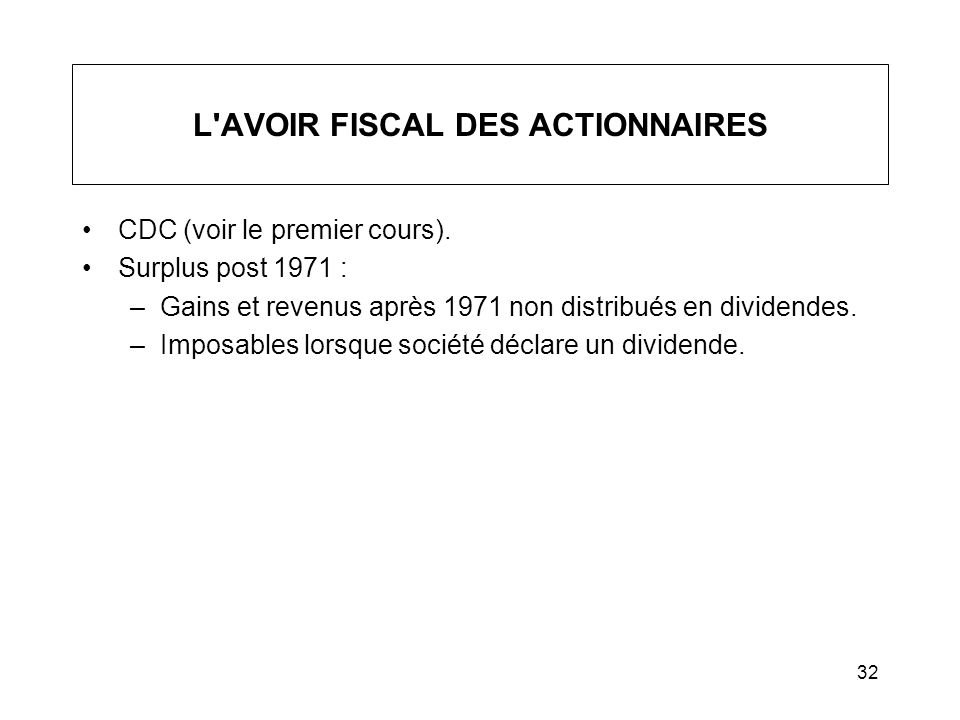 L AVOIR FISCAL DES ACTIONNAIRES
