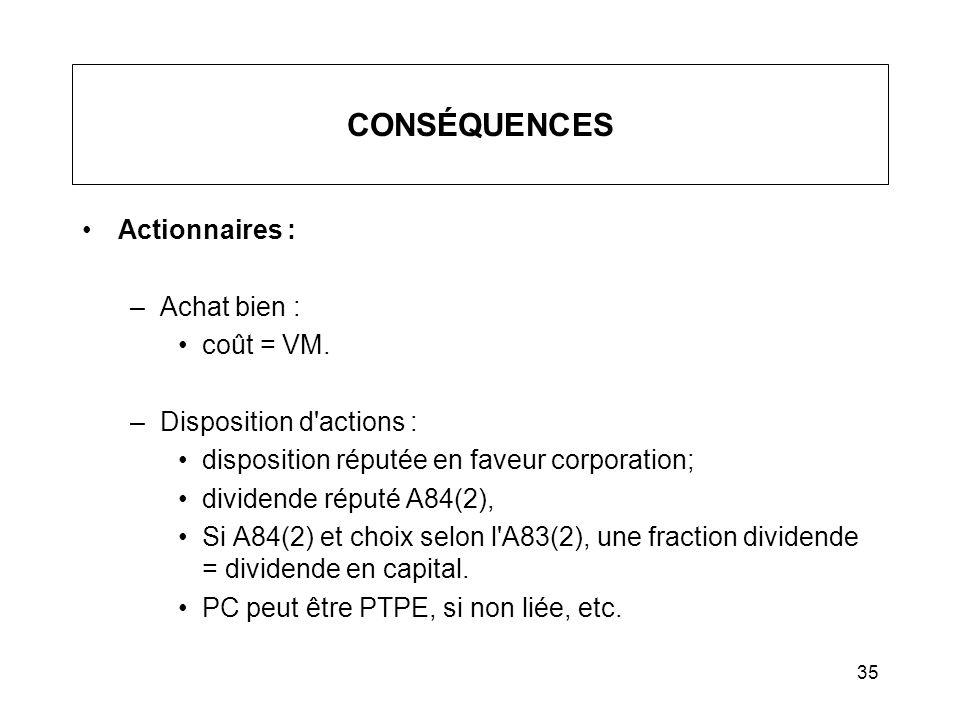 CONSÉQUENCES Actionnaires : Achat bien : coût = VM.