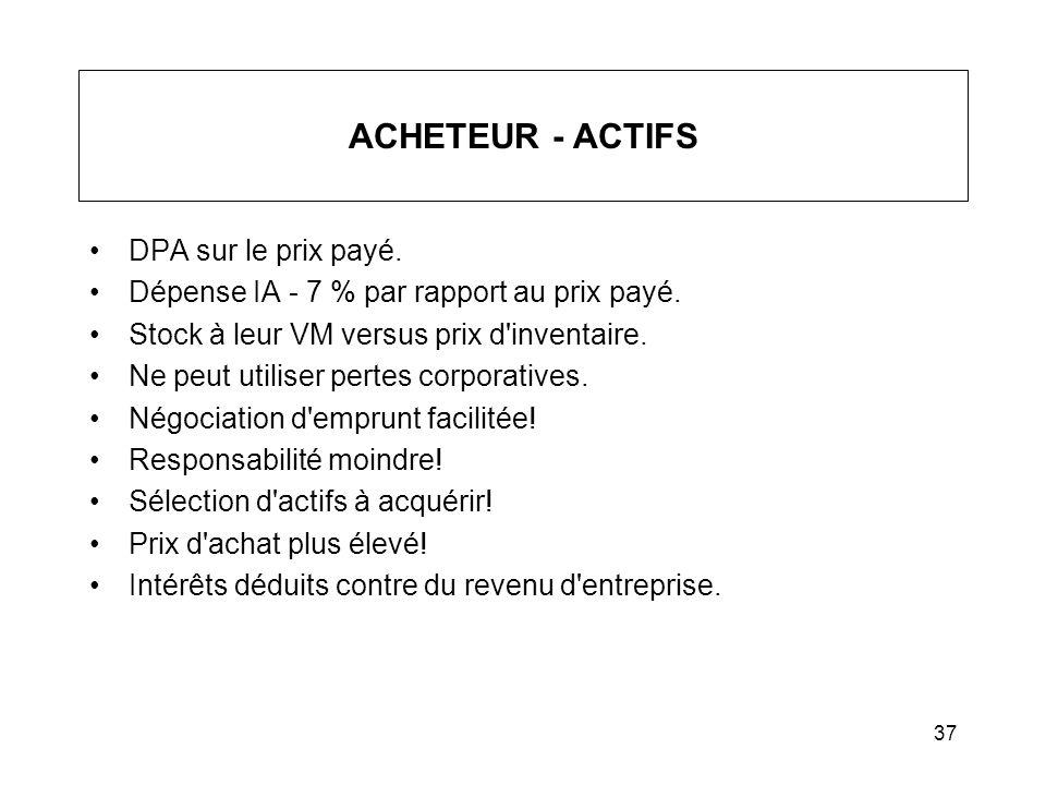 ACHETEUR - ACTIFS DPA sur le prix payé.