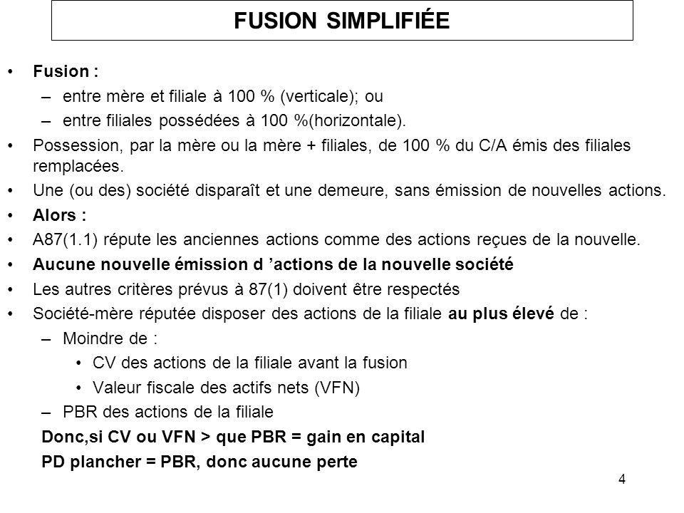 FUSION SIMPLIFIÉE Fusion :