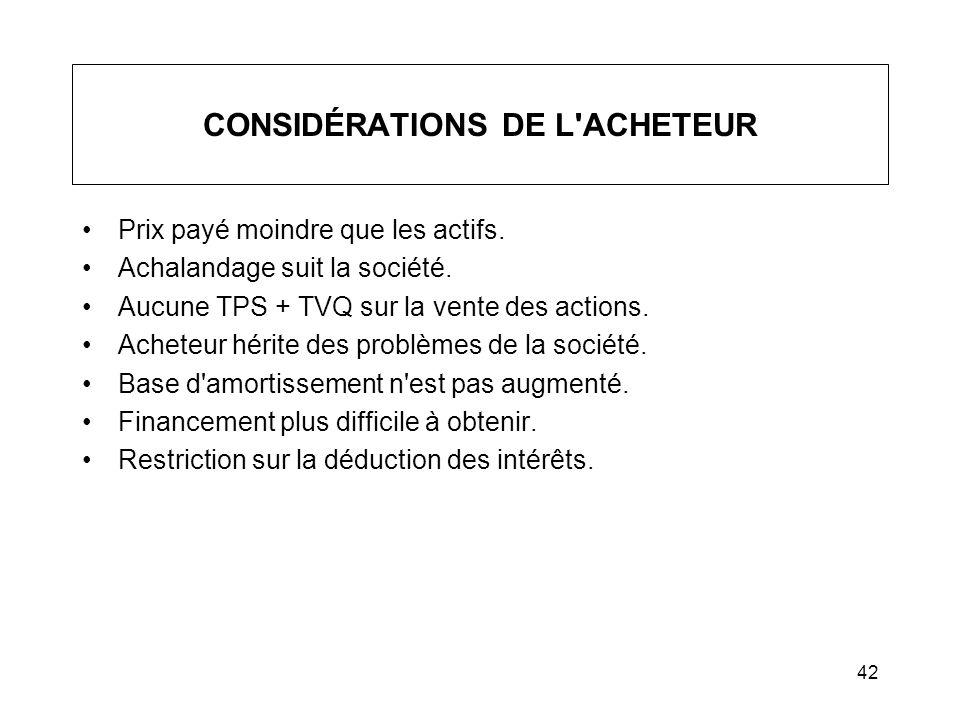 CONSIDÉRATIONS DE L ACHETEUR