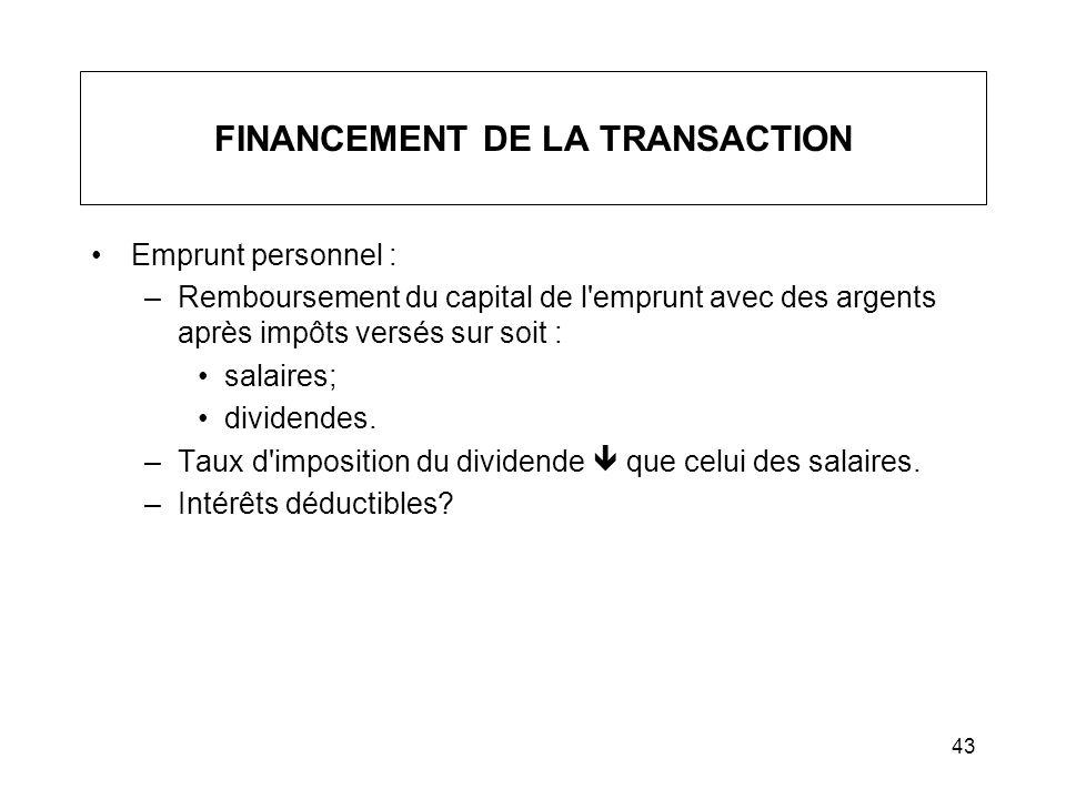 FINANCEMENT DE LA TRANSACTION