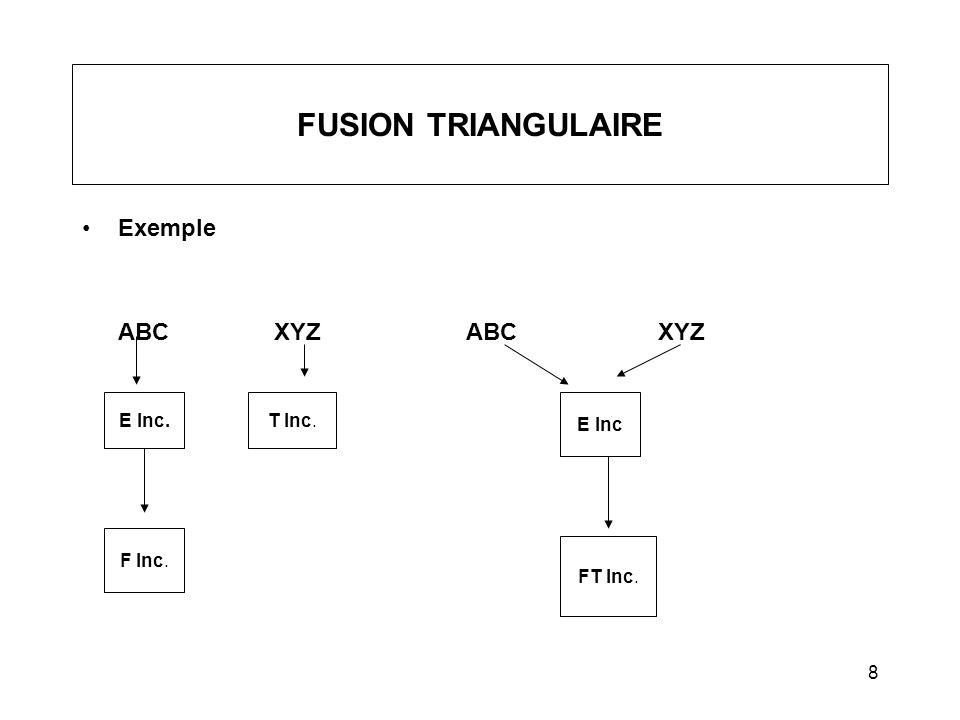 FUSION TRIANGULAIRE Exemple ABC XYZ ABC XYZ E Inc. T Inc. E Inc F Inc.
