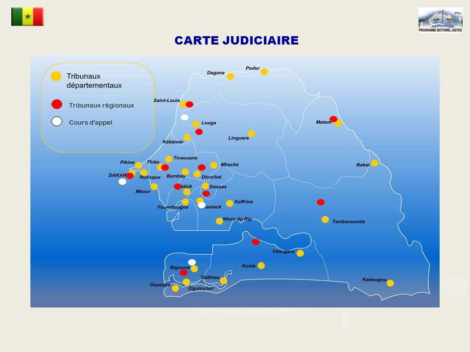 CARTE JUDICIAIRE Tribunaux régionaux Cours d appel