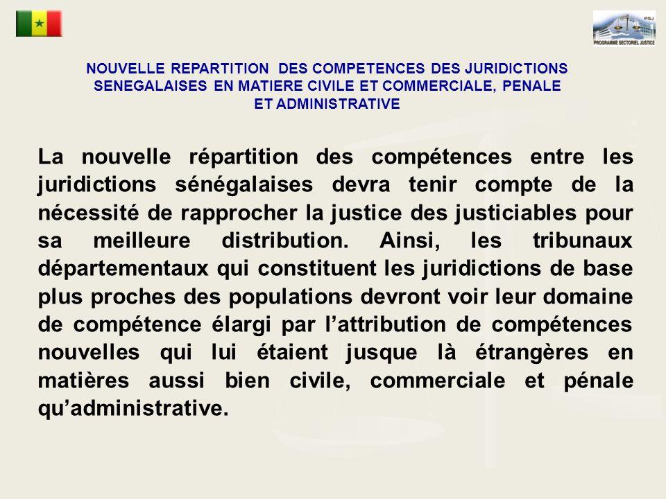 NOUVELLE REPARTITION DES COMPETENCES DES JURIDICTIONS SENEGALAISES EN MATIERE CIVILE ET COMMERCIALE, PENALE ET ADMINISTRATIVE