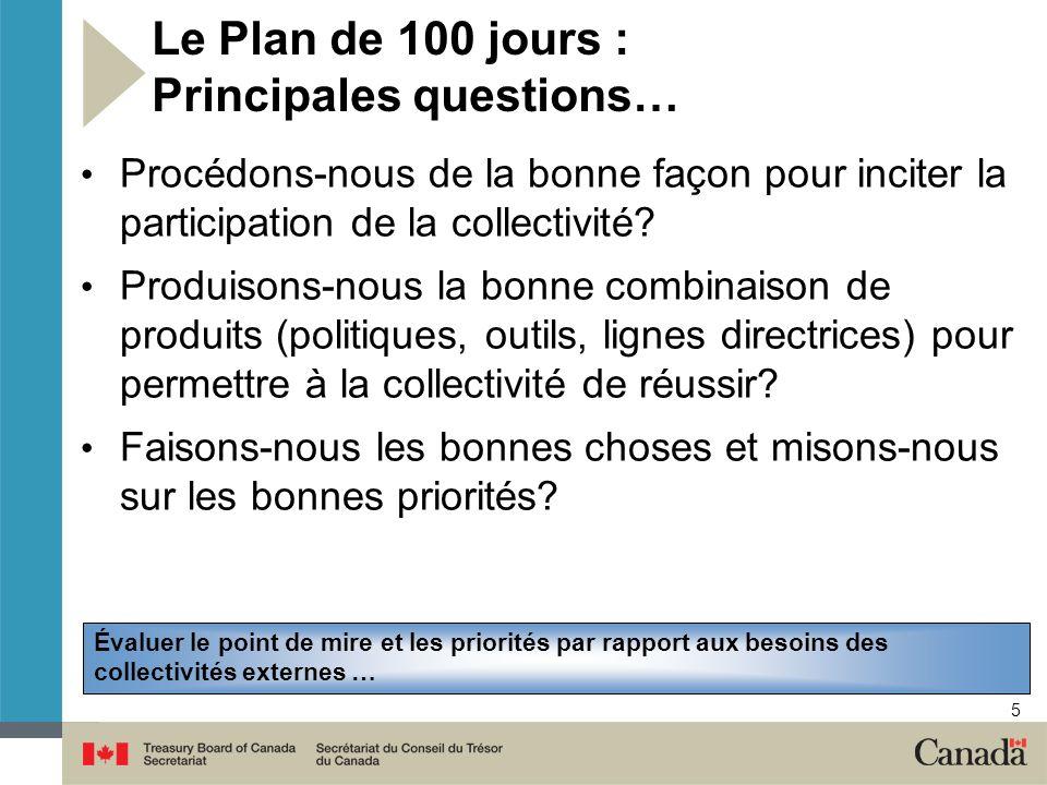 Le Plan de 100 jours : Principales questions…