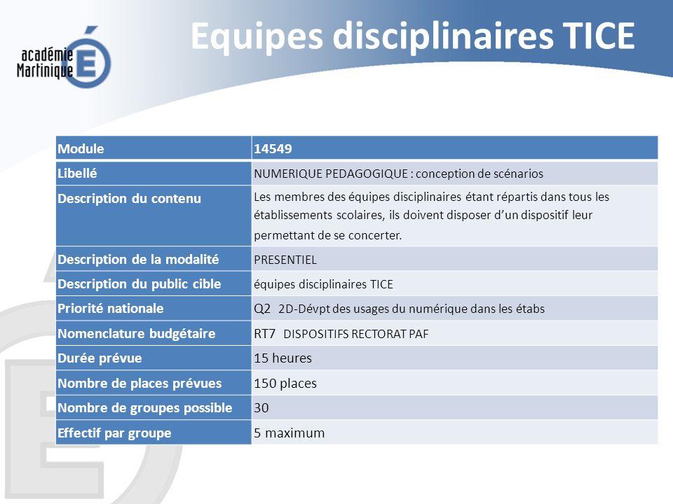 Equipes disciplinaires TICE