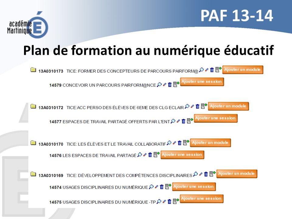 Plan de formation au numérique éducatif