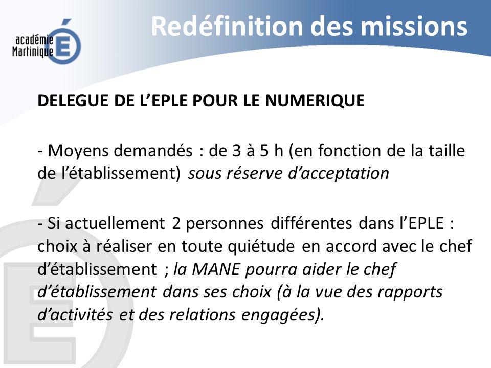 Redéfinition des missions
