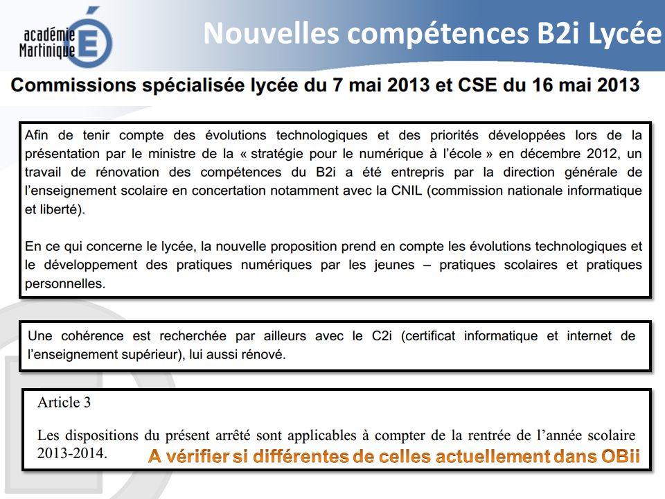 Nouvelles compétences B2i Lycée