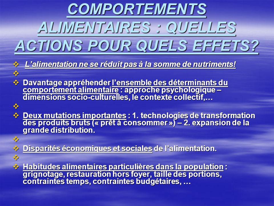COMPORTEMENTS ALIMENTAIRES : QUELLES ACTIONS POUR QUELS EFFETS