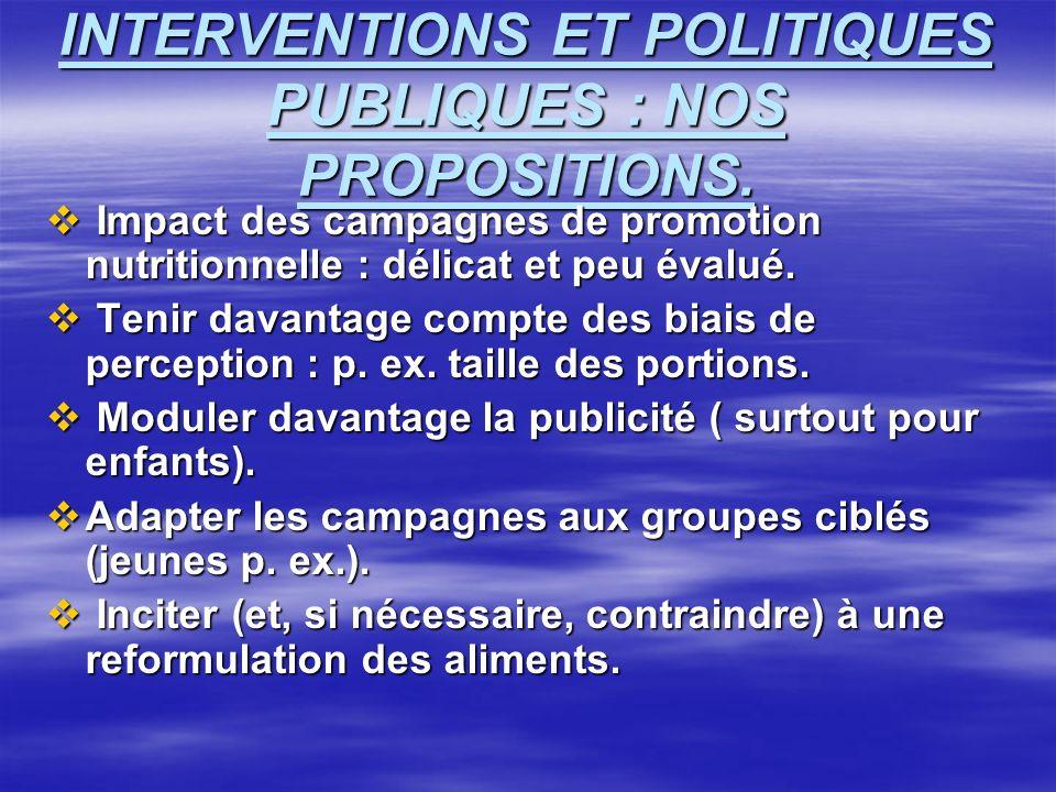 INTERVENTIONS ET POLITIQUES PUBLIQUES : NOS PROPOSITIONS.