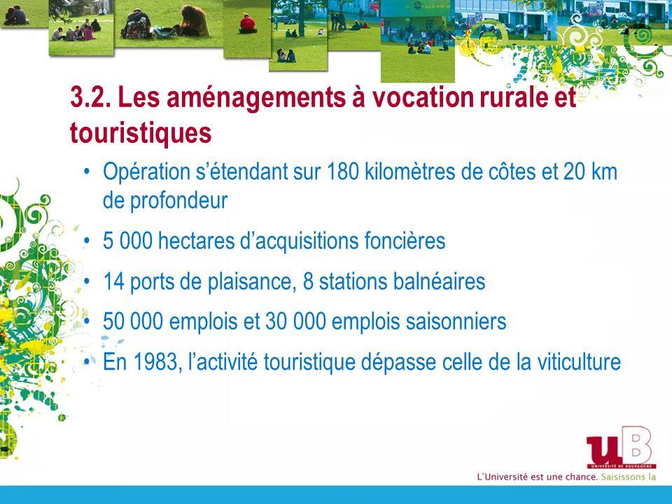 3.2. Les aménagements à vocation rurale et touristiques