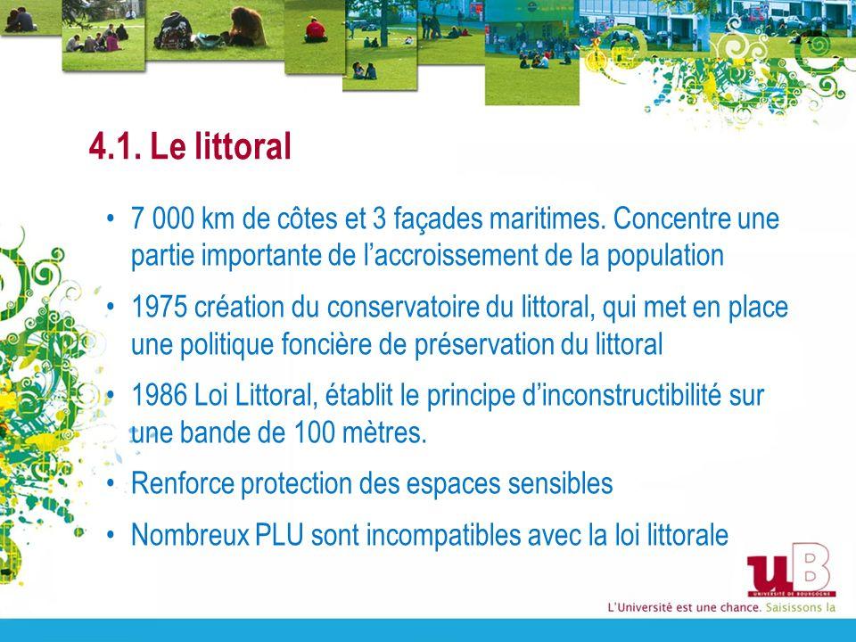 4.1. Le littoral 7 000 km de côtes et 3 façades maritimes. Concentre une partie importante de l'accroissement de la population.