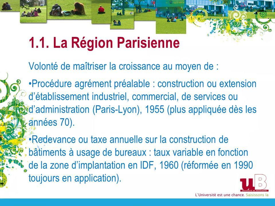 1.1. La Région Parisienne Volonté de maîtriser la croissance au moyen de :
