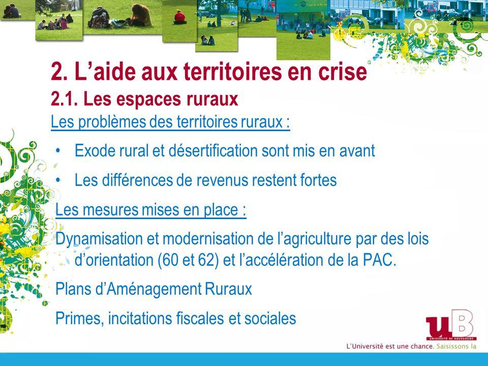 2. L'aide aux territoires en crise 2.1. Les espaces ruraux