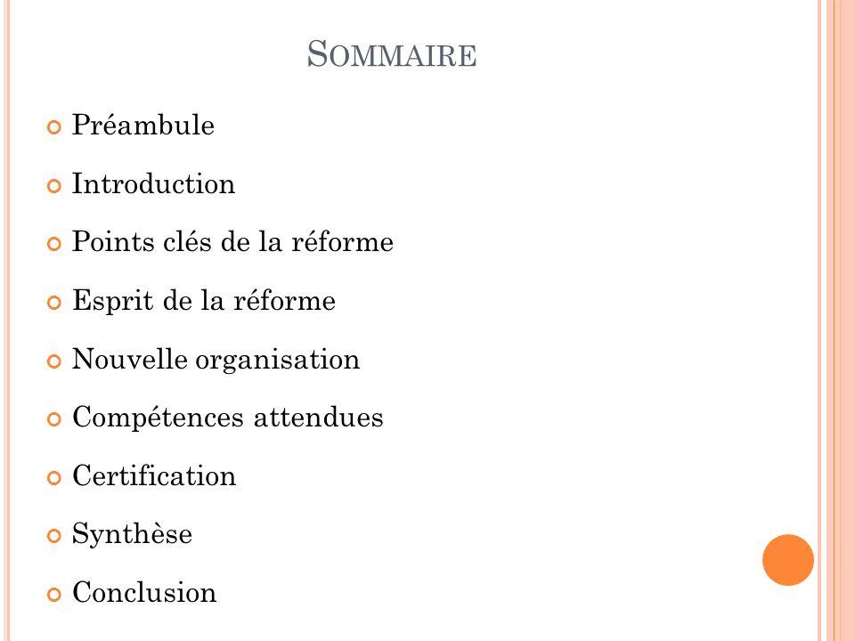 Sommaire Préambule Introduction Points clés de la réforme