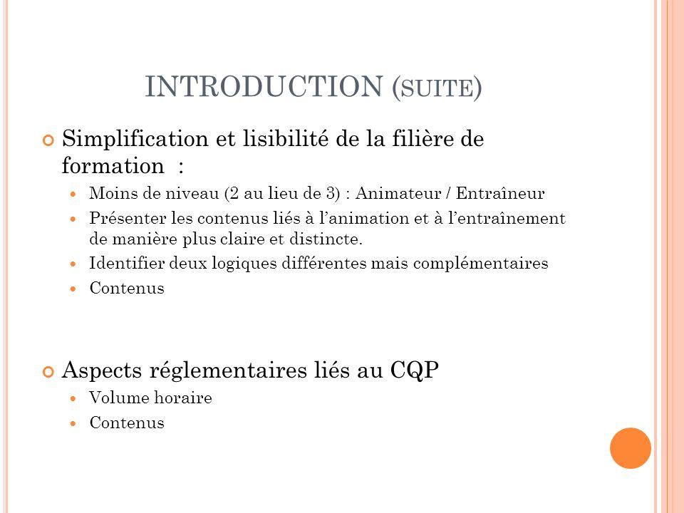 INTRODUCTION (suite) Simplification et lisibilité de la filière de formation : Moins de niveau (2 au lieu de 3) : Animateur / Entraîneur.