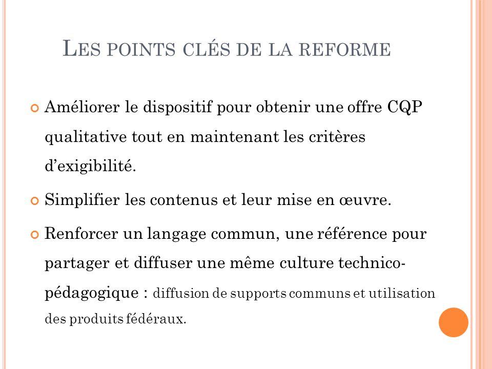 Les points clés de la reforme