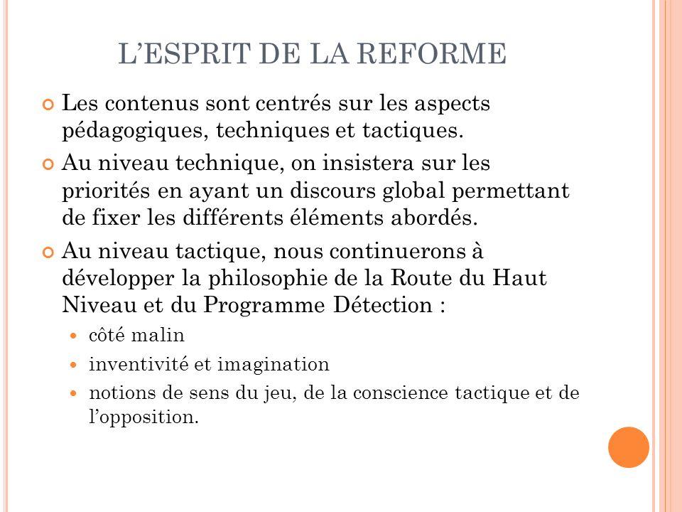 L'ESPRIT DE LA REFORME Les contenus sont centrés sur les aspects pédagogiques, techniques et tactiques.